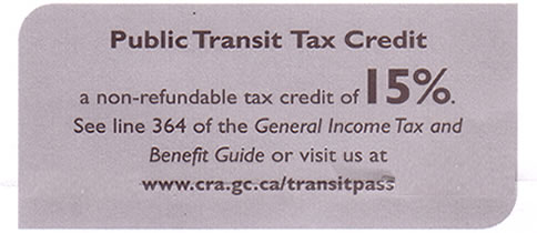 Public Transit Tax Credit